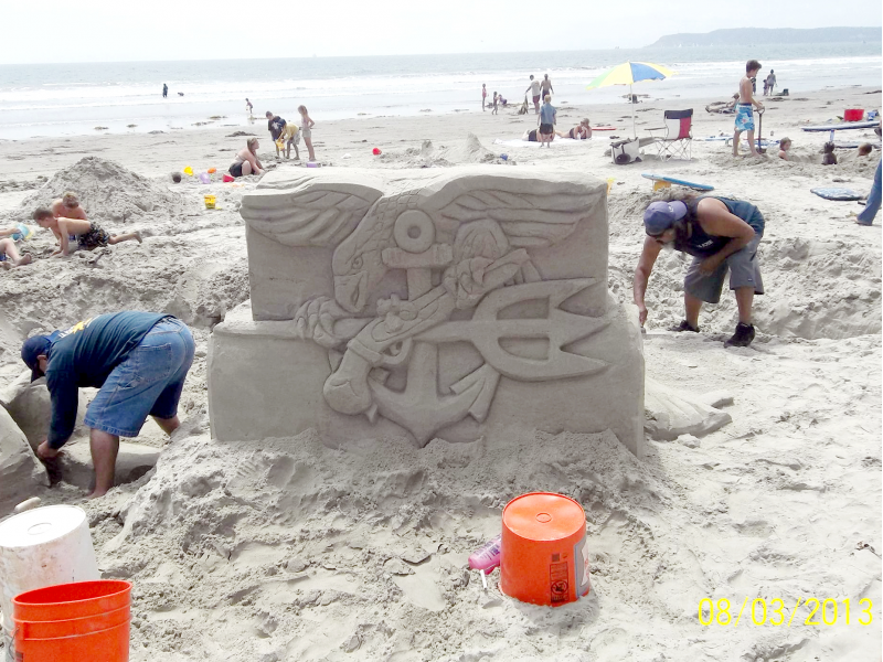 Sandcastle Team Builds Navy Seal Sculptures Coronado Ca Patch