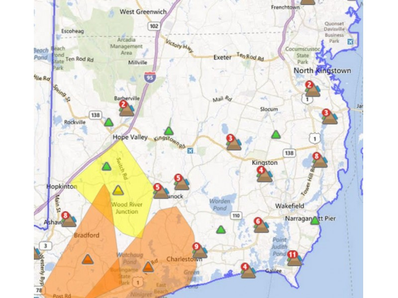 Power Outages Rhode Island Map