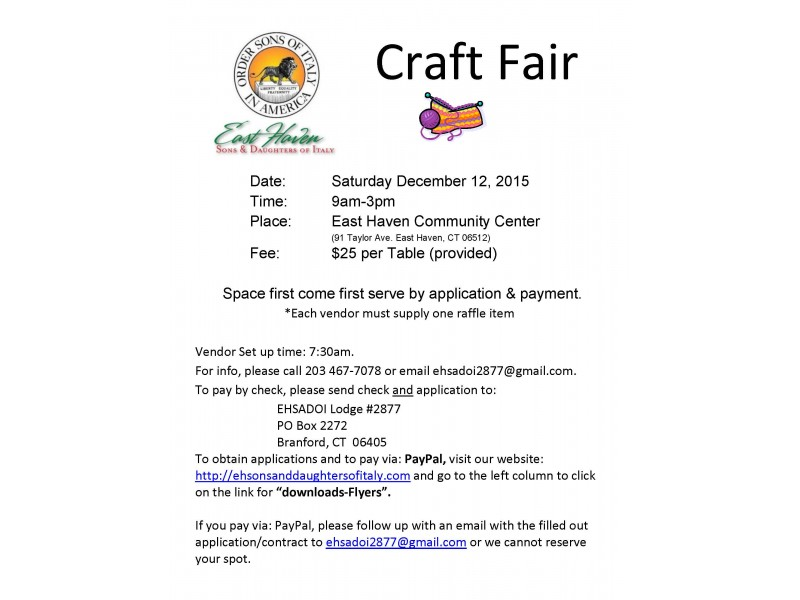Ehsadoi holiday craft fair december 12 2015 east haven for Craft fairs in ct december