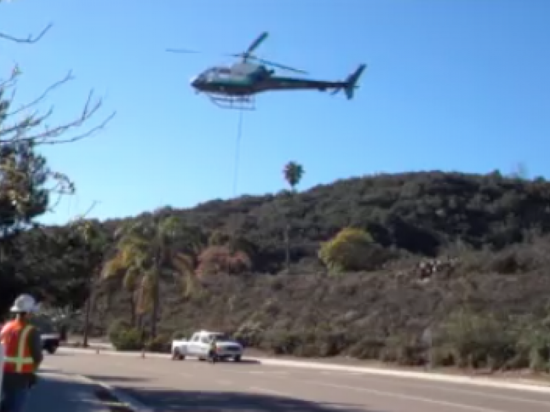 SDG&E Removes Old Encinitas Utility Pole with a Helicopter