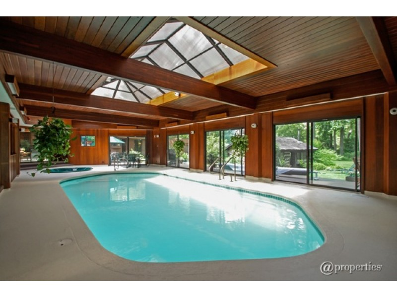 Home indoor pool with bar  Wow House: Indoor Pool with Hot Tub, Wet Bar; Log Cabin On ...