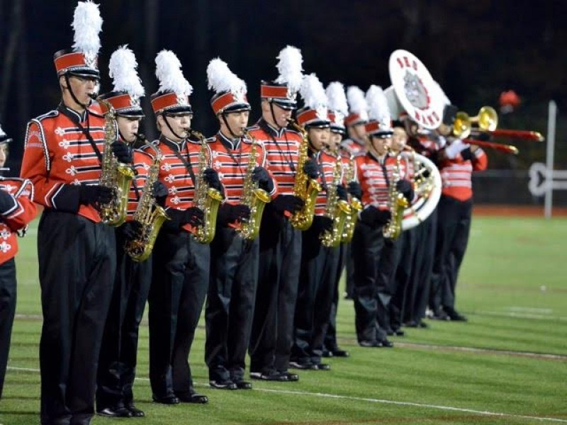 Bedford High School Marching Band Performs In Parade