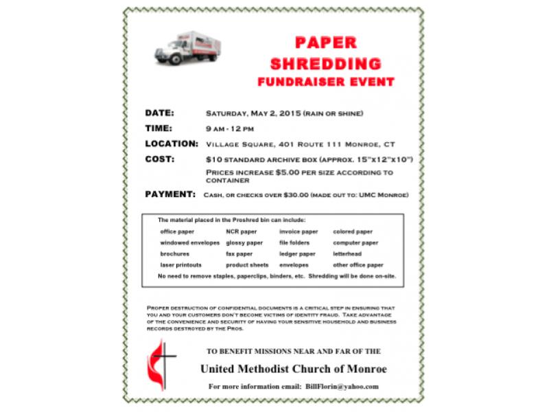 UMC Monroe Paper Shredding Fundraiser - May 2, 2015