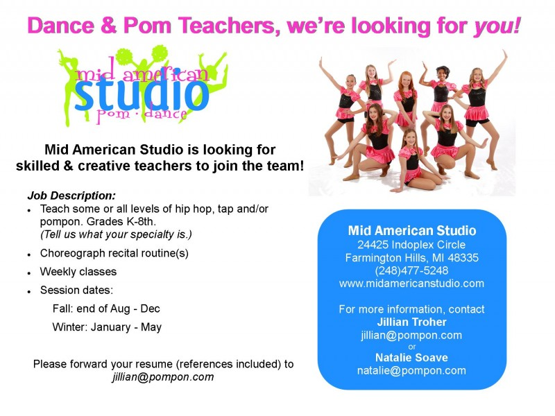 Dance Instructor Job Description Dance Andor Pompon Teacher Wanted  Farmington Mi Patch