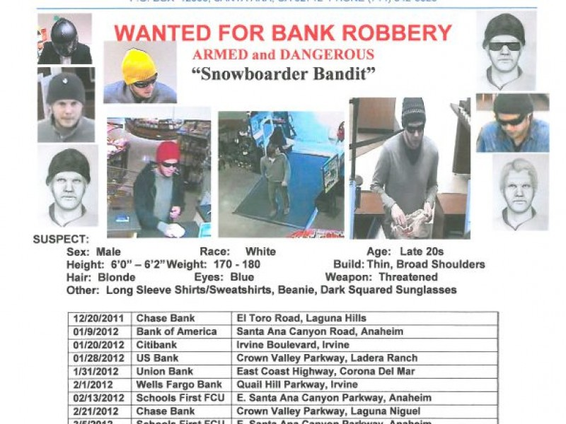 Snowboard Bandit Strikes Again Listed On Fbi S Most Wanted Laguna