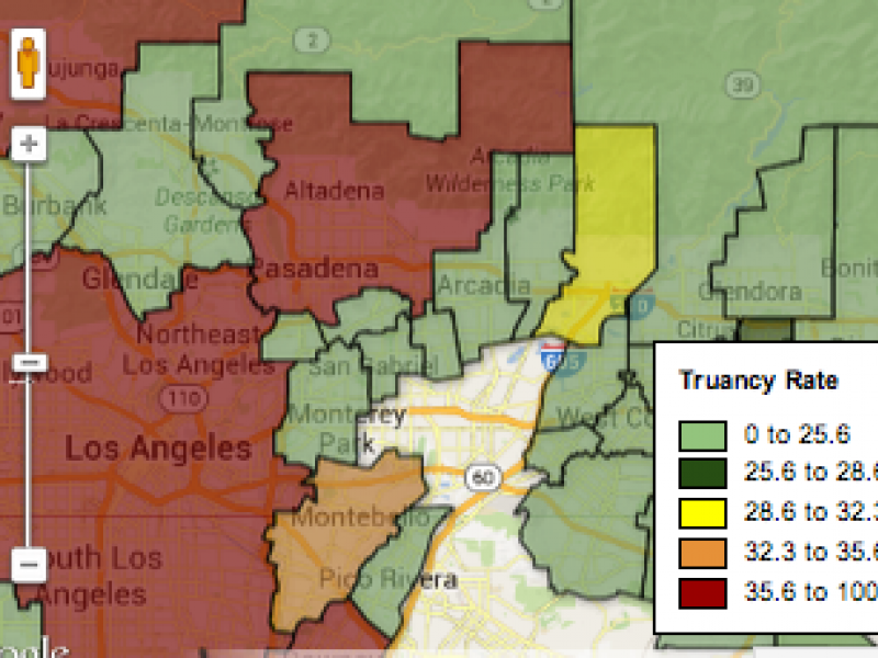 Map Of Canada For Students.Map Compare La Canada Unified Student Truancy Rates To The Rest Of