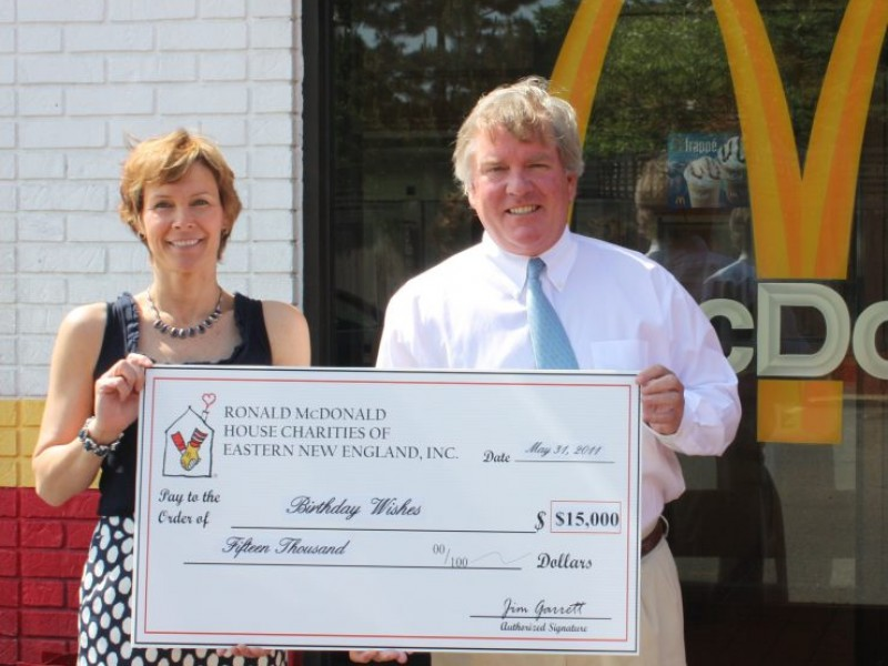 Ronald McDonald House CharitiesR Of Eastern New England Donates 15000 To Birthday Wishes