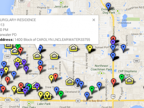 Clearwater Crime Map Assaults To Home Burglaries