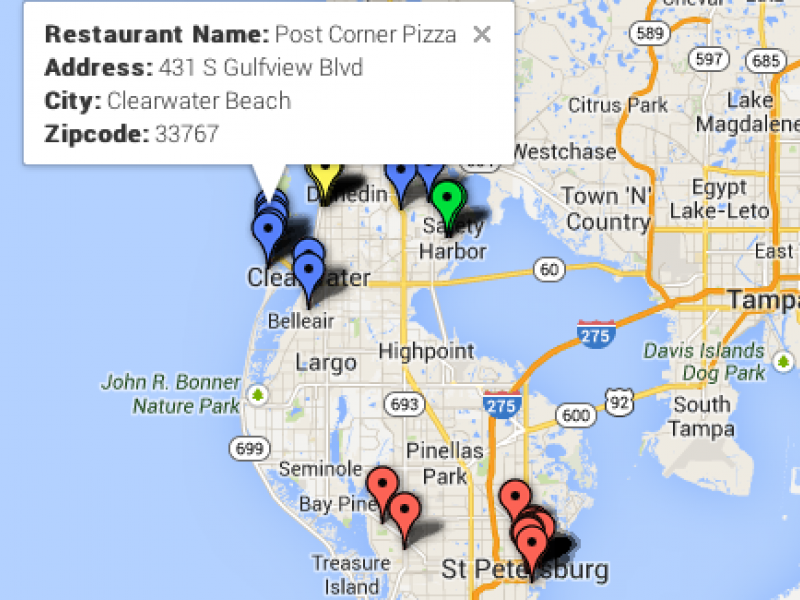Doggy Dining Map DogFriendly Restaurants in Clearwater Pinellas