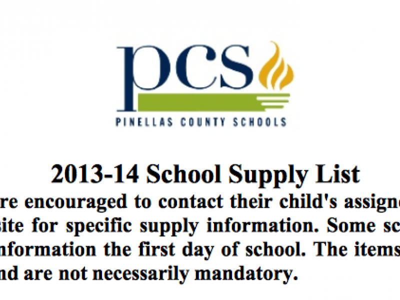Back-to-School Supplies List for Pinellas County Students