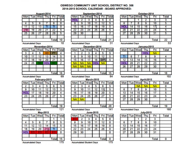 oswego 308 discusses school calendars for next two years oswego