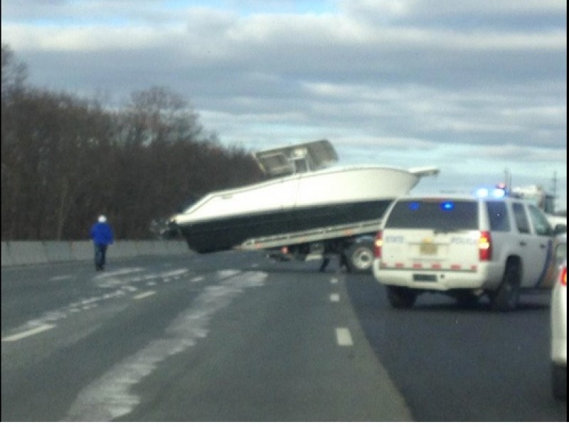 Boat Lands On Garden State Parkway Blocks Traffic Point