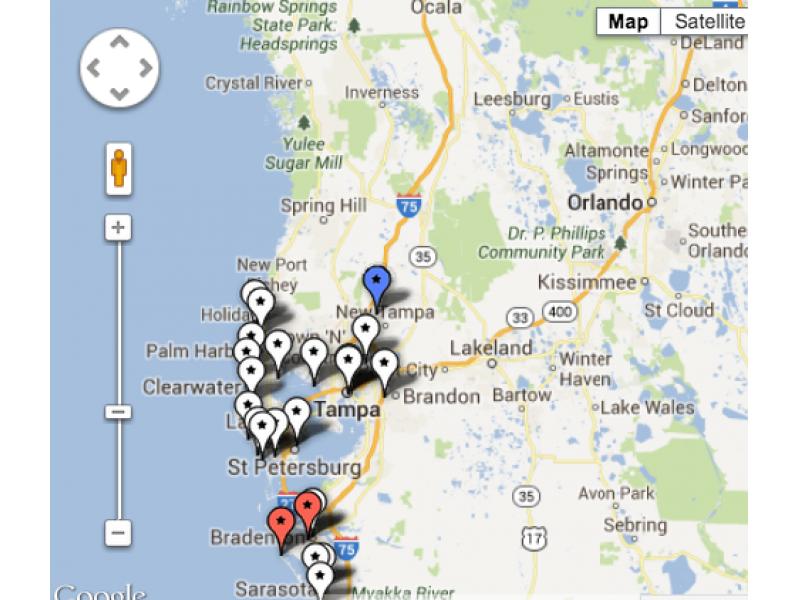Fourth Of July Fireworks Map For Sarasota Tampa Bay Sarasota Fl