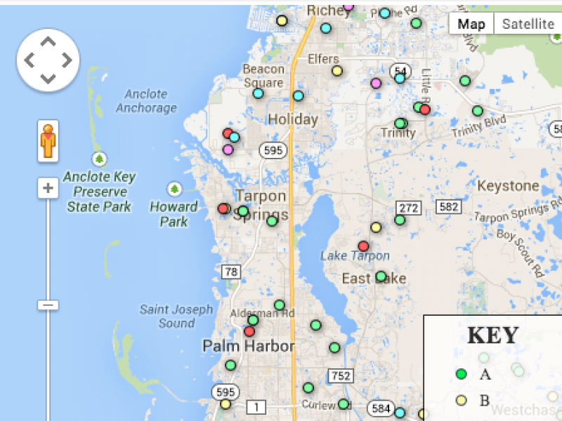 Tarpon Springs Florida Map.Map How 2013 School Grades Compare Across Pinellas County Tampa