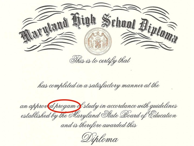 County High School Diplomas Include Misspelling Bowie Md Patch