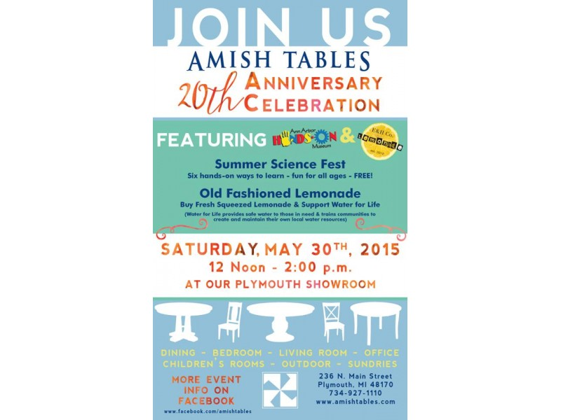 ... Amish Tables In Plymouth, Is Hosting The Ann Arbor Hands On Museum 0 ...