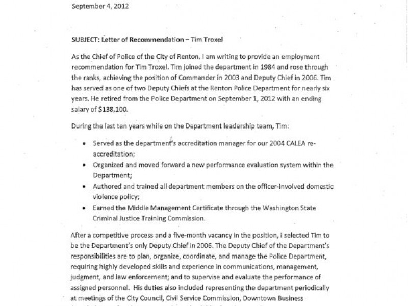 Wa Dept Of Health >> Deputy Police Chief Troxel Gets Letter Of Reprimand In Lieu of Termination Following ...