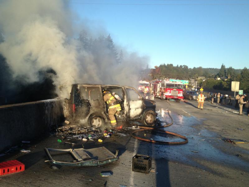 Fiery Crash on Highway 1 in Santa Cruz Sunday Morning   Half