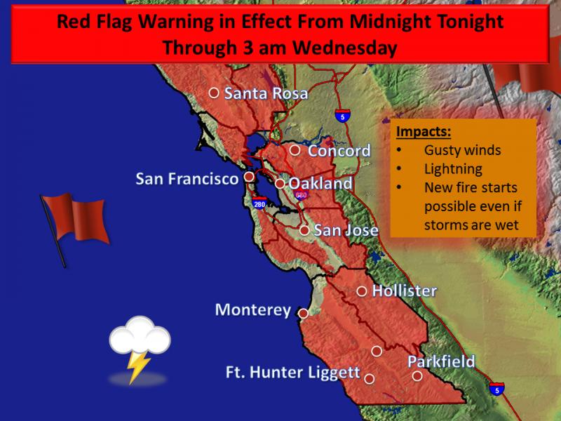 Santa Cruz Mountain Fire Map.Fire Danger Prompts Red Flag Warning In Santa Cruz Mountains