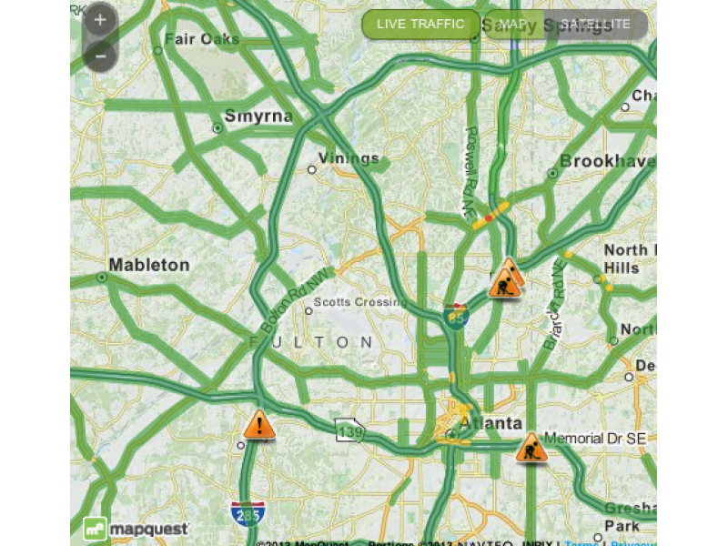 Atlanta Map Traffic.Weekend Traffic Road Closures In Real Time Smyrna Ga Patch