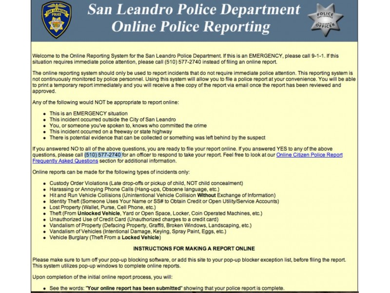 san leandro police department offers online reporting