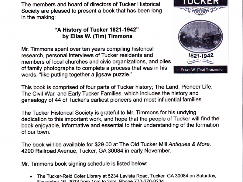 history of tucker book coming soon tucker ga patch