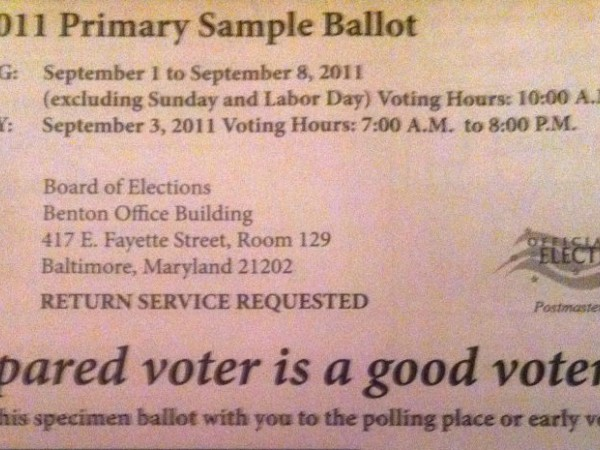 Sample) Ballot Issues - North Baltimore, MD Patch